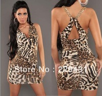 2013 New Design  Womens Hot Sexy Leopard Print Metal Chain Mini Dress Prom Clubwear Dancewear L2587  Charmeuse Babydoll