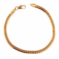 SL0059 Classic Vintage wedding man 18k gold plated Figaro chain bracelet & bangle for man fashion gold bracelet