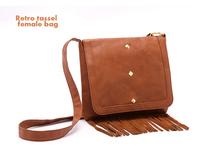 free shipping  2013 new fashion women leather handbags tassel shoulder bag women messenger bag retro brown bag