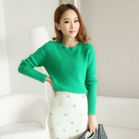 Pullover sweater Winter Rabbit Fur Long-Sleeve Thinckening women's Basic sweater Solid Green White basic knitted sweater 21537