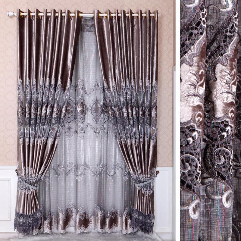 Cortina bordada estilo chinês qualidade cortina metros fashion faux qualidade luxo flannelet seda solúvel em água(China (Mainland))