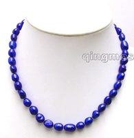 "SALE ! Big 7-9mm Blue BAROQUE natural Freshwater PEARL 17"" Necklace -5781 Wholesale/retail Free shipping"
