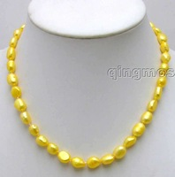 "SALE ! Big 7-9mm Yellow BAROQUE natural Freshwater PEARL 17"" Necklace -5782 Wholesale/retail Free shipping"