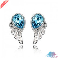 Wholesales Fashion Jewelry 18K Platinum Plated Crystal Cute Lovely Angel wings Stud Earrings for women 9052