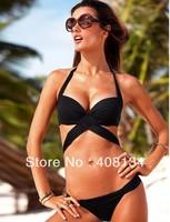 Free shipping swimwear sexy pure color triangle fission hot swimwear swimsuit bikini steel bracket bathing suit Swimming trunks