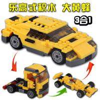 3 1 deformation automobile race bumblebee assembling building blocks boy birthday gift