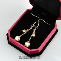 New Fashion High Quality Shaped Dangling Zircon Drop Earrings for Women Ladies Gold Plated Zircon Earrings Jewelry Hot ER034