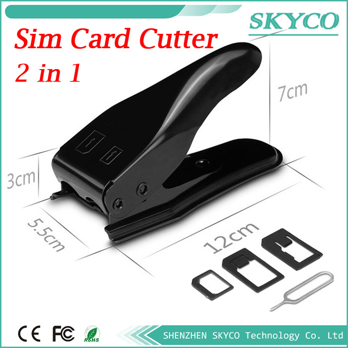 2 in 1 Nano Micro sim card cutter for iPhone 5 4s 4 samsung Nokia Son