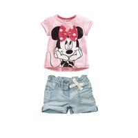 Retail 1 pcs free shipping top quality girl cartoon modeling t-shirt+denim pants 2 pcs suits kids fashion cotton clothes suits