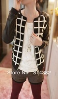 Free Shipping New 2013 Women Jackets Leather Vintage Zipper Spliced Long Sleeve Plaid Print Black Blends Fashion Clothing M~XXL
