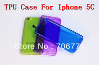 For Iphone 5C Colorful Slim  Soft Gel Clear TPU Case Cover Skin 150pcs/lot