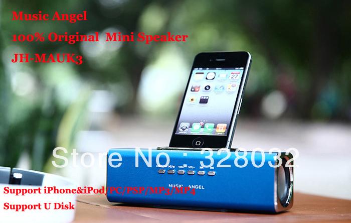 Original Music Angel JH-MAUK3 Portable Mini Speaker support iPhone&iPod/PC/PSP/TF/Micro SD Card/MP3/MP4/U Disk 5pcs(China (Mainland))