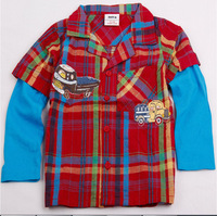 Free shipping high quality 5pcs/lot boy's cotton plaid embroidery cars shirt with patchwork long sleeves