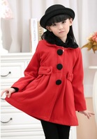 For 4-14 years On sale 2014 new girls kids winter clothing baby girls warm Woollen coat child woolen collar overcoat outwear