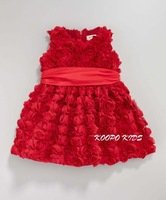 Retail 1pcs free shipping top quality girl sleeveless party dress summer red rose lace dress princess bow dress in stock
