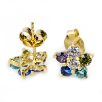 1 pair drop shipping genuine 925 sterling silver Jewelry Gold plated stud Earrings for women Jewelry Colorful Star GNE0762