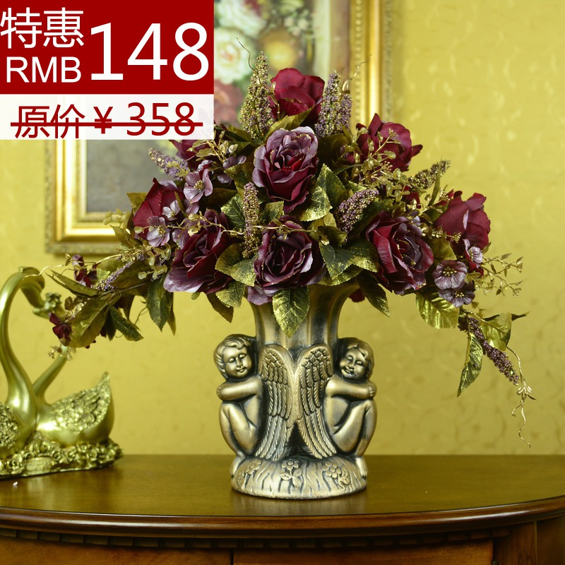 Purple fashion vase artificial flower whole set artificial flower plastic flower home decoration dining table(China (Mainland))