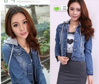 Autumn women's with a hood slim denim coat top denim outerwear female long-sleeve short design spring and autumn