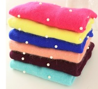 2013 autumn and winter rabbit fur candy color pearl o-neck loose knitted sweater