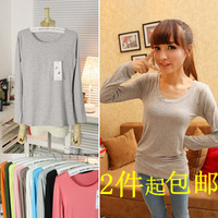 Autumn top modal cotton 100% cotton big o-neck long-sleeve t-shirt basic shirt female medium-long