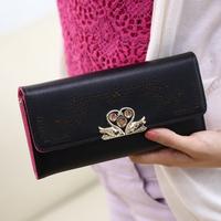 Wallet female long design 2013 solid color rhinestone quality ladies elegant day clutch wallet  purse women wallet women