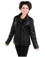 2014 NEW Hot Cakes Brand Quinquagenarian Women Leather Jacket Outerwear Women's Winter XL-4XLFree shipping