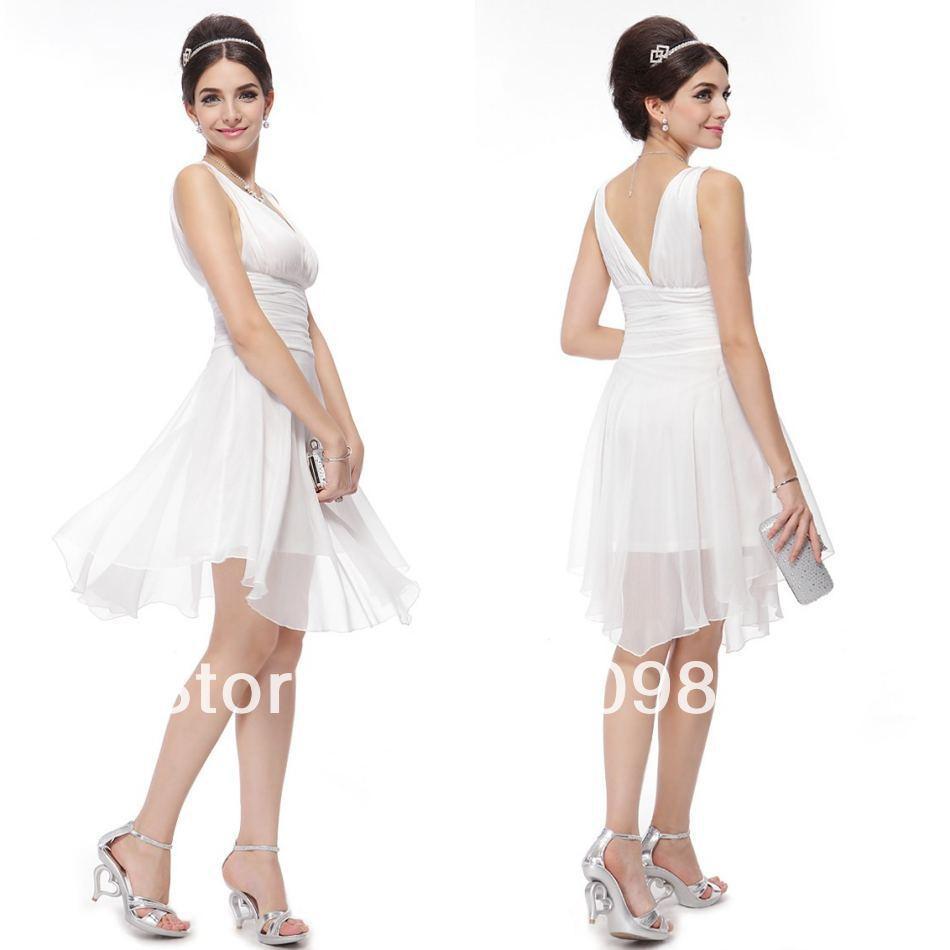Chiffon Branco V -neck Joelho de comprimento Hem Linha Casual jovem vestido da dama de Meninas Affordable Assimétrica(China (Mainland))