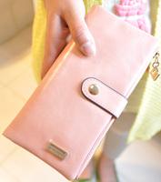 Wallet female long 2013 design new arrival women's zipper buckle solid color gentlewomen day clutch multifunctional