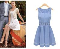 New Summer Europe Fashion Women's Dresses Lace Sleeveless Round Neck Casual Elegant Dress White/Blue 3223