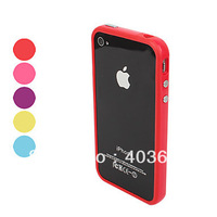 TPU Bumper Frame Case with Metal Buttons for iPhone 4 4S