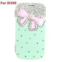 Pretty Pink Bowknot Rhinestone Case Light Green/Rose/White TPU Full Body Flip Cover Shell For Samsung Galaxy SIII S3 i9300