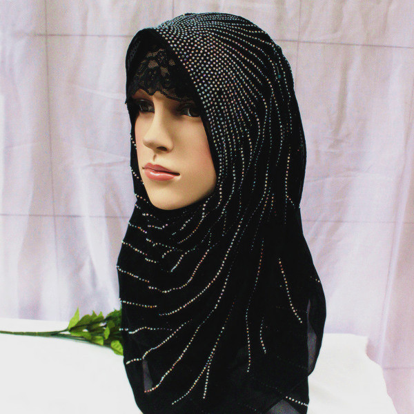 The new Muslim fashion boutique upscale hot drilling long paragraph Muslim hijab scarf scarf Xinjiang Normal female headscarves(China (Mainland))
