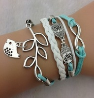 Min $18(can mix)Owls & Lucky Branch/Leaf and Lovely Bird Charm Bracelet in Silver - Mint Green Wax Cords and Leather Braid