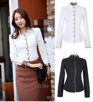 2014 summer women's slim long-sleeve cotton shirt summer young girl shirt white-collar work wear