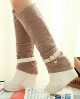 CooLcept Free shipping over knee long boots women snow fashion winter warm boot footwear wedge shoes P10352 EUR size 34-39