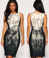 Summer women 2014 new fashion brand designer sexy serpentine pattern elastic force slim thin one-piece midi dress Free shipping