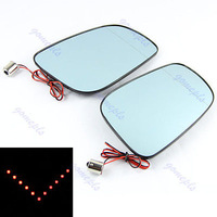 D19+Turn Signal Rearview Blue Mirror With Flash Red LED Light For Nissan New Teana