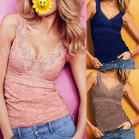 New Sexy Women's Deep V Vest Hollow Out Lace Tank Top Cami Open Back Slim Sleeveless[240141]