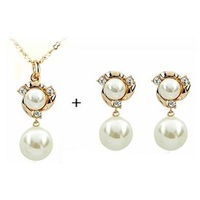 Fashion fashion pearl end of a single necklace earrings set girlfriend gift gifts exquisite fashion star style