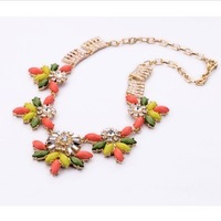 Accessories multicolour gem austrian diamond necklace fashion flower necklace