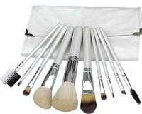 High Quality 10pcs Brushes! Professional Makeup Brushes Makeup Kit Leather Bag Free Shipping