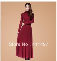Super Elegant Turtleneck Warm Knite Floor-Length Long lace crochet sleeve Sleeve geomtric Dress for women winter in 2xl,3xl