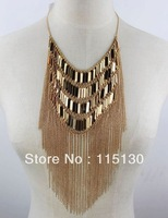 Statement Long Tassel Choker Bib Necklace Gold Plated For Women Luxurious Layered Fringe Tassel Necklace Fashion Jewelry