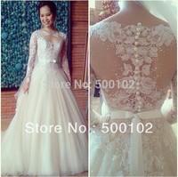 Brazilian Girl Dreamy Wedding Dresses Jewel Neckline Appliqued Lace Tulle Floor Length