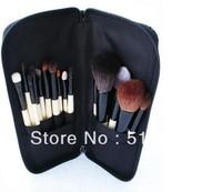 Replacement Bobbi Brow Professional makeup set&kits 15 pcs soft animal hair cosmetic brush set with leather bag packing