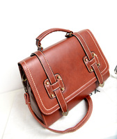 2013 oil skin ancient Korean Fashion PU Leather Bag Floral Cross Body Messenger Bags Women LadyShoulder Bag Handbag freeshipping