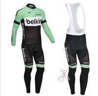 2013  new   belkin     team winter thermal Fleece cycling long sleeve   jersey+ Silicone pads  bib  pants