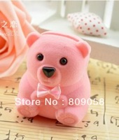 Wholesale High Quality 6pcs/lot Pink Romantic Wedding Lovely Bear Design Velvet Ring Box Jewelry Display Gift Case Free Shipping