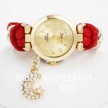 chegada nova moda couro genuíno relógios, mulher strass relógio, lua ouro charme, relógio vestido frete grátis dropshipping(China (Mainland))