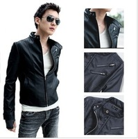 Free Shipping 2014 Spring New Fashion Mens Plus Size Slim Fit Vintage Outwear PU Leather Motocycle Jacket